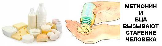 Метионин и БЦА (лейцин, изолейцин и валин), ускоряют старение, сокращают продолжительность жизни человека. Чемпионы по содержанию БЦА и метионина - молоко и молочные продукты